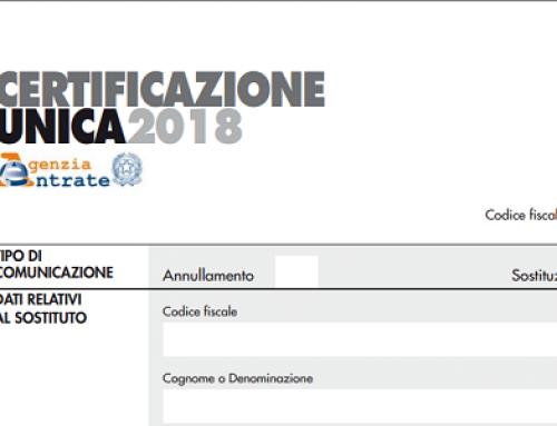 Certificazione Unica 2018. 100€ di sanzione per ogni CU non comunicata.