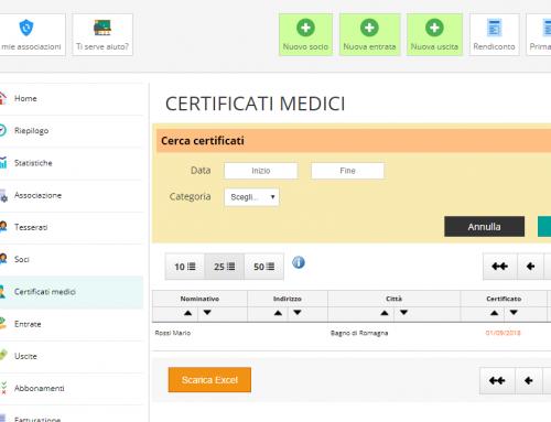 Nuova funzione: controlla e sollecita le scadenze dei Certificati Medici.