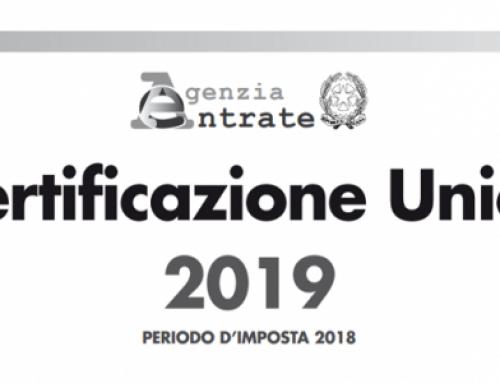 Certificazione Unica 2019 per Associazioni