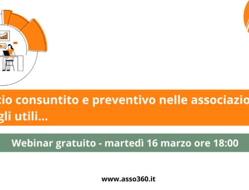 Iscriviti al Webinar: il bilancio consuntivo e preventivo nell'associazione. Consigli utili.